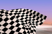 Composite image of checkered flag — Foto Stock
