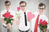 Composite image of romantic nerd — Stock Photo