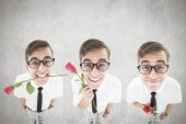 Composite image of nerd with rose — Stock Photo
