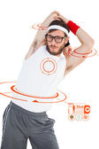 Geeky hipster stretching in sportswear — Stock Photo