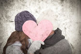 Couple in winter fashion posing — Stock Photo