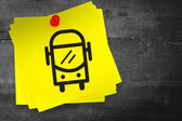Bus graphic against sticky note — Stock Photo