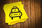 Taxi graphic against sticky note — Stock Photo
