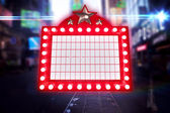 Composite image of lit up billboard — Stock Photo