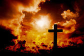 Composite image of wooden cross — Stock Photo