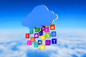 Composite image of cloud with apps — Stock Photo