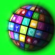 App icons in spinning globe — Stock Video #69512323