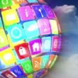 App icons in spinning globe — Stock Video #69517601