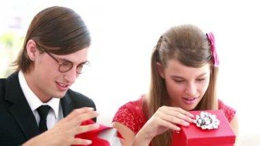 Cute nerdy couple — Stock Video