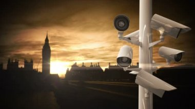 CCTV cameras over busy road in London — Stock Video