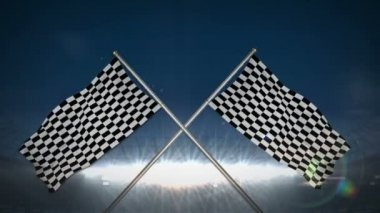 Checkered flags in flashing arena — Video Stock