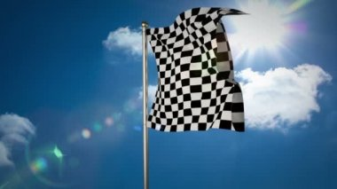 Checkered flag against blue sky — Stock Video