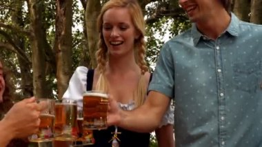 Friends celebrating oktoberfest — Stock Video