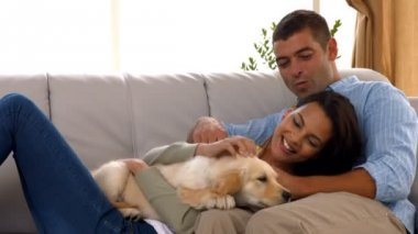 Happy couple with their puppy at home — Stock Video