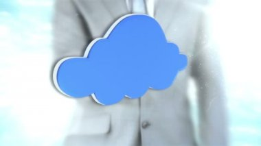 Businessman interacting with cloud interface — Stock Video