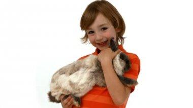 Cute boy with pet rabbit — Stock Video