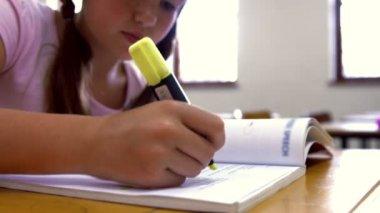 Школьница, изучая на стол в школе — Стоковое видео