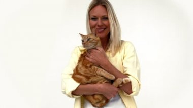 Happy blonde with pet cat — Stock Video
