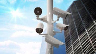 CCTV cameras against blue sky — Stock Video