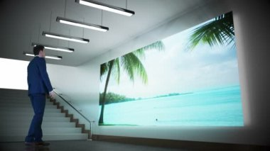 Businessman looking at screen showing beach paradise — Stock Video
