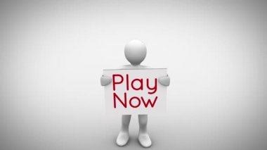 Character holding sign saying play now — Stock Video