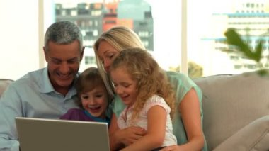Family using tablet pc together — Stock Video