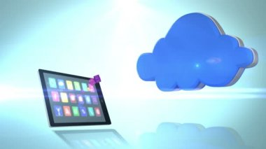 Smartphone communicating with the cloud — Stock Video