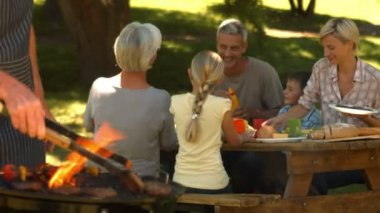 Happy family having barbecue in the park — Stock Video