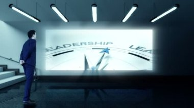 Businessman viewing leadership compass clip — Stock Video