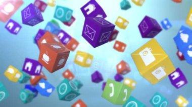 Computer app icon cubes with globe — Стоковое видео