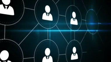 Digital interface of profile icons — Стоковое видео