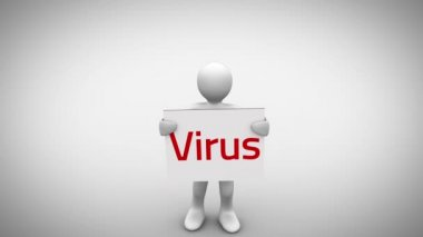 White character holding sign saying virus — Stock Video
