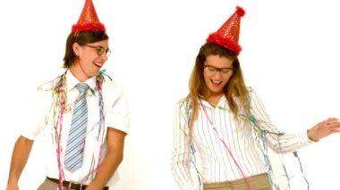 Happy geeky couple dancing — Stock Video