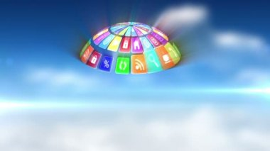 App icons in spinning globe — Wideo stockowe