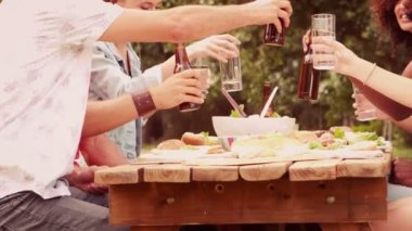 Happy friends in park having lunch — Stock Video