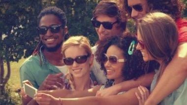 Happy friends in the park taking selfie — Stock Video