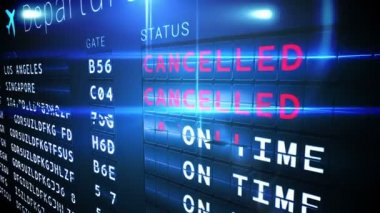 Departures board of cancelled flights — Stock Video