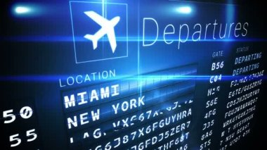 Departures board for american cities — Stock Video
