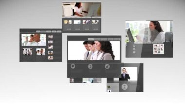 Different webpages showing business people — Stock Video