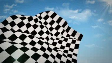 Karierte Flagge gegen blauen Himmel — Stockvideo
