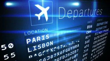 Departures board for eurpoean cities — Stock Video