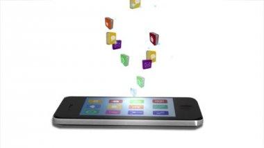 иконы app приходя от смартфона — Стоковое видео