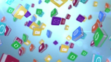 Falling computer app icon tiles — Stock Video