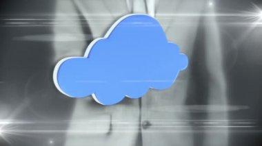 Podnikatel, interakce s cloud rozhraní — Stock video