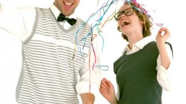 Geeky hipster couple looking at confetti — Stock Video