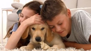 Happy siblings with their puppy at home — Stock Video
