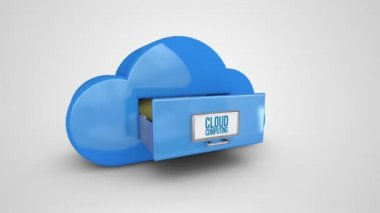 Cloud computing filing drawer — Stock Video