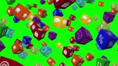 Falling computer app icon cubes — Стоковое видео