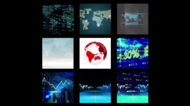 Different screens showing business graphics — Stock Video