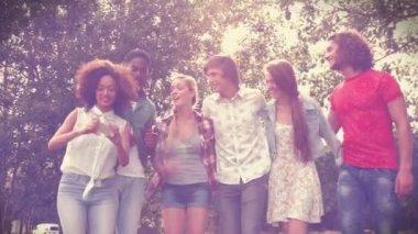 Friends in the park taking selfie — Stock Video